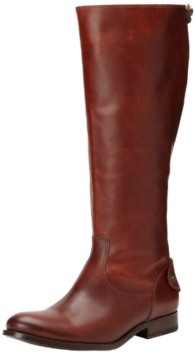 FRYE Women's Melissa Button Back-Zip Boot, Cognac Wide Calf Smooth Vintage Leather, 6.5 M - Button Frye Melissa Boot
