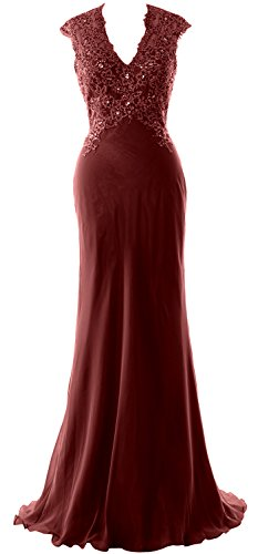 MACloth Elegant V Neck Evening Formal Gown Lace ChiffonMother of the Bride Dress Burgundy