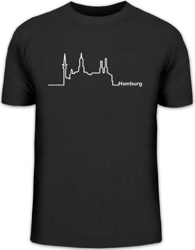 Shirtstreet24, Skyline Hamburg, Herren T-Shirt Fun Shirt Funshirt, Größe: L,schwarz
