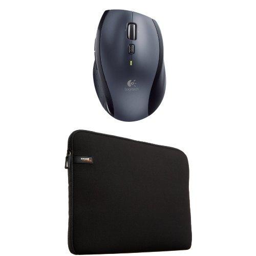 Preisvergleich Produktbild Logitech M705 Laser-Maus schnurlos schwarz/grau und AmazonBasics Laptophülle für 33,8-cm-Laptops
