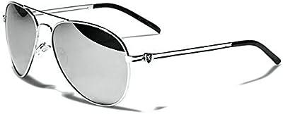 Khan Gafas de Sol Aviator - Moda - Fashion - Deporte - Ciclismo - Mtb - Esquí - Snowboard - Moto - Kitesurf - Conducción / Mod. Classic Plata Espejo
