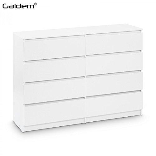 Kommode mit 8 Schubladen 140cm Sideboard Mehrzweckschrank Anrichte Diele Flur Esszimmer Wohnzimmer Weiß