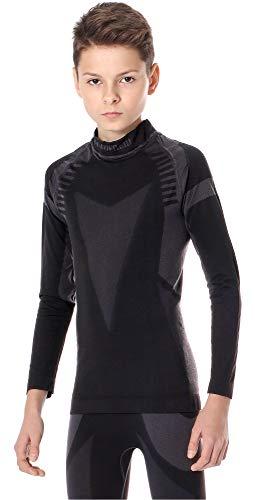 Ladeheid maglia termica bambino e bambina manica lunga lass0007 (nero/argento, 122-128)