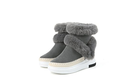 QIN&X Donna fondo spesso Chunky Heel Snow Boots breve caviglia stivali scarpe Grey