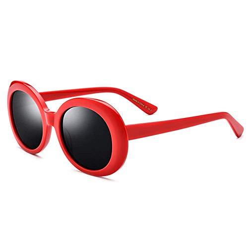 Sport-Sonnenbrille Damen-Sonnenbrille Rapper Ovale Brille Retro UV-Schutz Augenschutz Runder Rahmen Laufen, Reiten, Angeln Sonnenbrille (Farbe: Roter Rahmen schwarzer Film, Größe: Frei)