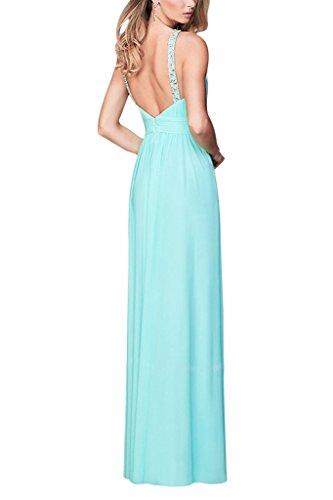 Charmant Damen Elegant Chiffon Neckholder Abendkleider Partykleider Promkleider Lang A-linie Bodenlang Rot