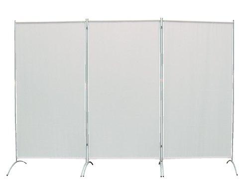 PARAVENT 264x180cm 3-teilig Raumteiler Sichtschutz Stellwand Trennwand aus Stoff (Silbergrau)
