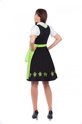 Edelnice Trachtenmode Mini Dirndl 3-tlg. schwarz grün mit passender Bluse und Schürze Gr. 32-56