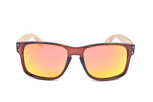 NOVEL Sonnenbrille | Brillenbügel aus Bambusholz | Polarisierte Gläser | inkl. Etui mit Microfasertuch | Farbe: Schwarz