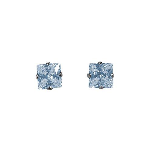 Pierre porte-bonheur en argent sterling Coupe Princesse Clous carré oxyde de zirconium 3mm Mar-Aquamarine
