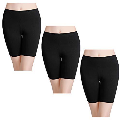 wirarpa Unterhosen Radlerhose Boxershorts Damen 3er Pack Hoher Bund Baumwolle Shorts Panties Lange Unterwäsche Schwarz Größe 54 (Baumwolle Damen-unterwäsche)