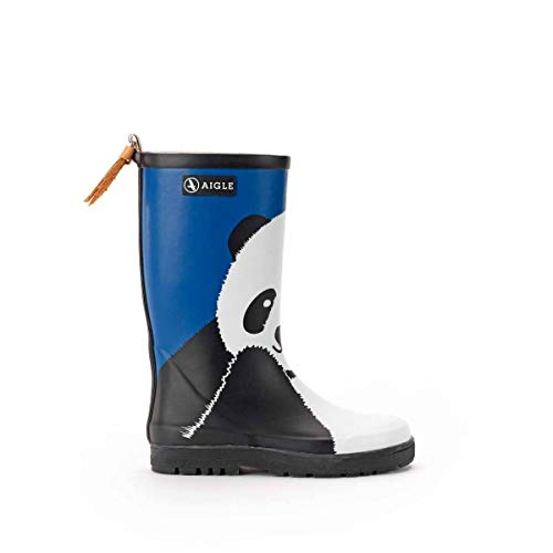 Aigle Woody POP Fun Boots Child Blue/Black Wellington Boots