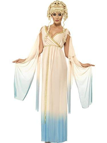 Fancy Me Damen Griechische Göttin Prinzessin Aphrodite Römische Toga Maxi Kostüm Kleid Outfit UK 12-22 Übergröße - Beige, UK 16-18