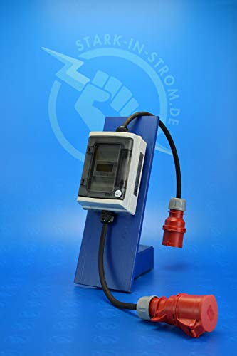 Digital Stromzähler Adapter - Ungeeicht - 400V / 32A CEE-Stecker auf 32A CEE Kupplung/Wattmeter/Energiezähler/Zwischenzähler/MID-Adapter/Starkstromzähler IP65. Qualität -Made in Germany-