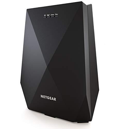 Netgear WLAN Mesh EX7700-100PES AC2200 Tri-Band Wireless Signal-Verstärker & Booster (Abdeckung von 4 bis 5 Räumen & 40 Geräten, Geschwindigkeit bis zu 2200 MBit/s, smartes Mesh WLAN-Roaming) schwarz