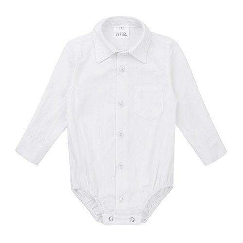 Freebily Baby Strampler Baumwolle Langarmshirt Gentleman Hemd Spielanzug Baby Junge Overall Unterhemd 62-92 Weiß 74/9 Monate