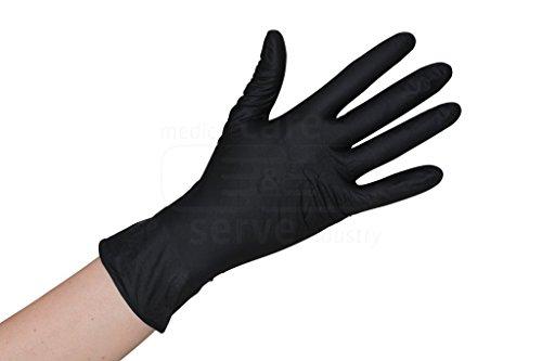 100 Stück schwarze Nitril Einweghandschuhe EN455 - puderfreie und unsterile Kochhandschuhe Tätowierhandschuhe Tattoo Handschuhe, Größe: S
