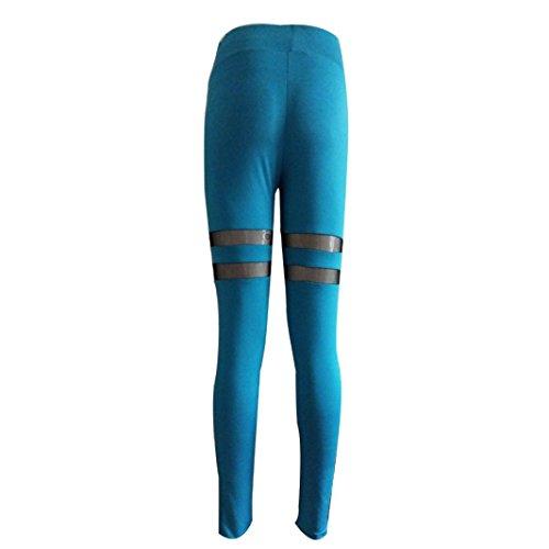 Pantalon de Yoga femmes,Jimma Pantalon Yoga de femmes Sports Mesh Patchwork d'entraînement Gym Leggings pantalons de sport Fitness Bleu