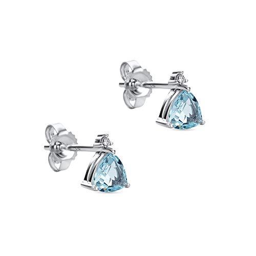 Orovi Damen Ohrstecker Diamant Ohrringe Set,Weißgold Ohrstecker 9Karat (375) mit Aquamarin