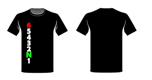 Speed-Biker Fun T-Shirt \'MotoGear\' Motorrad Gänge Gangschaltung in Schwarz, Größe:L