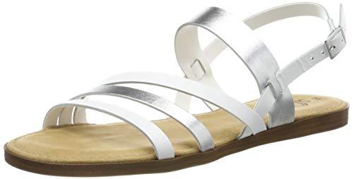s.Oliver 5-5-28107-22, Sandali con Cinturino alla Caviglia Donna, Bianco (White/Silver 193), 37 EU