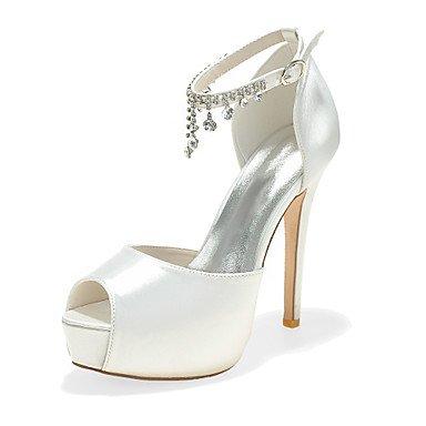 Wuyulunbi@ Scarpe donna raso Primavera Estate della pompa base scarpe matrimonio Peep toe strass per la festa di nozze & sera una rosa blu porpora argento Un