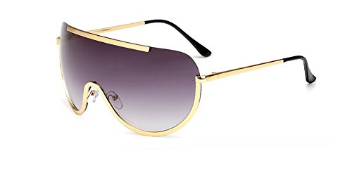 Hykis Retro ¨¹bergro?e Sonnenbrille-Frauen-Marken-Designer-Schild Metallhalbrahmen Sonnenbrillen M?nner Gro?e Sonnenbrille Brillen Feld UV400 [grau]