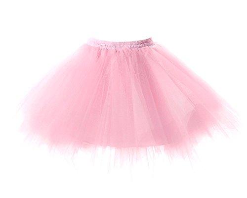 ettrock Tüllrock Hochzeit Braut Knielang Unterrock 4 Layers Organza Elastic Flauschige Tüll Tutu-Röcke Prinzessin Kleid (Plus Größe Rosa Prinzessin Kostüm)