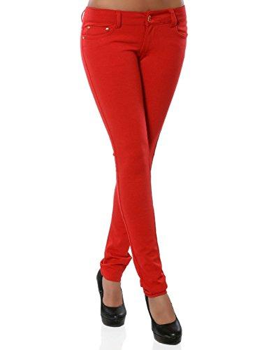Damen Hose Treggings Skinny Röhre (weitere Farben) No 13011, Farbe:Rot, Größe:M/38