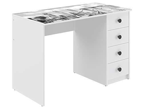 Amazon Marke -Movian Constance moderner  Schreibtisch mit 4 Schubladen, 56 x 110 x 73,5, Bedruckt