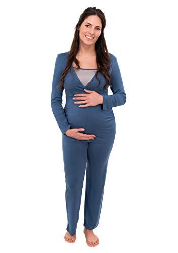Herzmutter Stillpyjama-Umstandspyjama - Zweifarbiger Schlafanzug für Damen - Nachtwäsche für Schwangerschaft-Stillzeit - Pyjama-Set mit Stillfunktion - Lang-Langarm - 2700 (XXL, Blau/Hellblau)