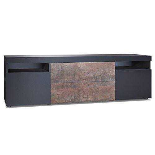 Vladon TV Board Lowboard Kapstadt 166, Korpus und Türen in Graphitoptik/Schubkastenfronten in Stahlfarben -