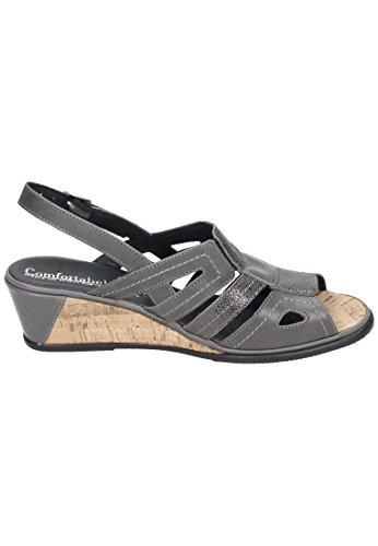 Damen Confortável Confortável Grau Sandalette Grau nXfz6w