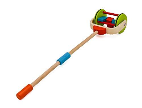 Jouets à pousser premier age marcheur bebe tirer en bois pour tout-petits bebe 1 an garçon ou filles , Poussez Le Jeu de Rouleaux. Multicolore pour enfant.