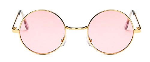 WSKPE Sonnenbrille Runde Sonnenbrille Frauen Rot Gelb Blau Grün, Klare Gläser Sonnenbrillen Für Goldene Rahmen Rosa Linse (Ray-ban Klar Sonnenbrille Rahmen)