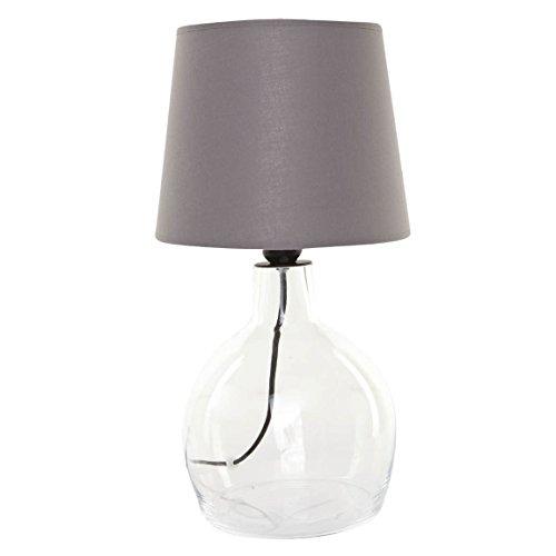 SIGNATURE HOME COLLECTION Glaslampe mit Stoffschirm, Tischlampe, 24 x 24 x 42 cm, Glas durchsichtig, Schirm in grau CO-104-OS+CO-SI-A103 (Gemusterte Stoffschirm)