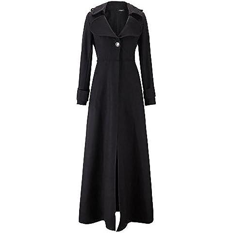 YUYU Moda de señora larga mantener cálida chaqueta Cardigan manga larga , black , xxl