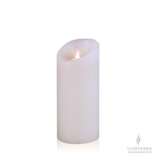 Luminara LED vela de cera con 8 x 18 cm blanco liso