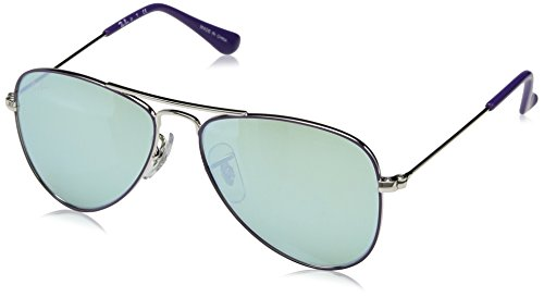 RAYBAN JUNIOR Kids' Junior Aviator 262/30 Sunglasses, Silver Top on Violet/Green Flash Silver, 50