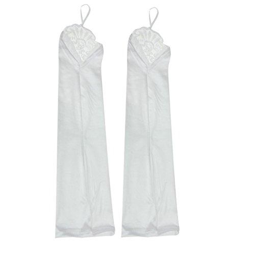 Fingerspitzen Handschuh Elastischer Satin Brauthandschuhe mit Spitze und Pailletten Party Abendhandschuhe handschuhe Winter Frühling Sommer Weiß ()