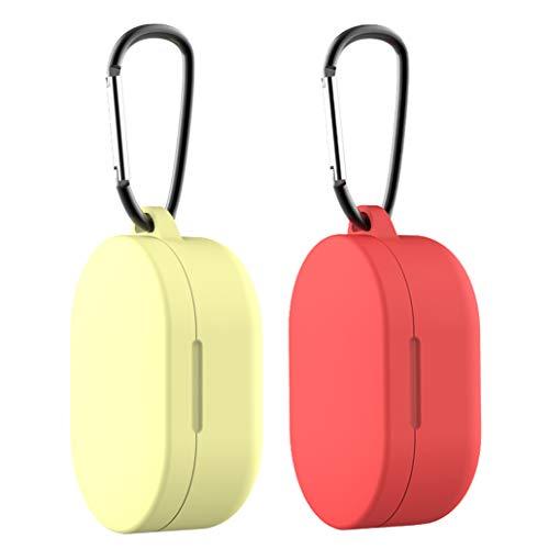 Yoowei [2-Pack] Custodia per Xiaomi Mi Airdots TWS/Redmi Airdots Cover Silicone Cuffie Custodie Protettiva [Supporta la Ricarica Wireless][Anteriore a LED Visibile] + Moschettone, Giallo Rosso