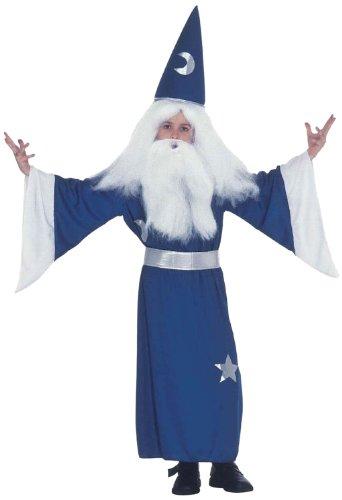 Widmann 38268 - Kinderkostüm Zauberer, Tunika mit Halsband, Gürtel und Hut, Größe (Kostüm Kinder Mond)