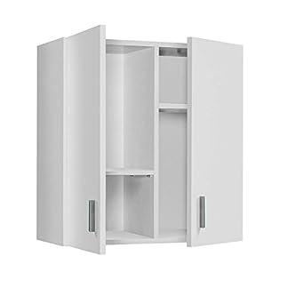 Fondo 35cm. Ancho 116cm HABITMOBEL Armario Multiusos de 3 Puertas con 4 estantes y escobero Color Blanco Medidas: Alto 190cm
