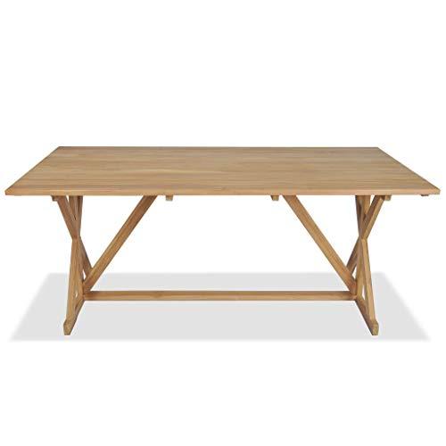 Festnight Table de Salle à Manger d'extérieur Teck Massif de jardin180x90x75 cm