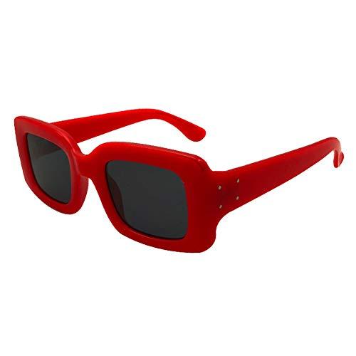 Siwen Nail Decoration Frauen Platz Sonnenbrille verstärkung Metall scharnier männer uv 400 objektiv Brille,rot schwarz