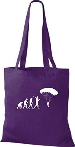 ShirtInStyle Stoffbeutel Jute Evolution Paraglider diverse Farbe lila