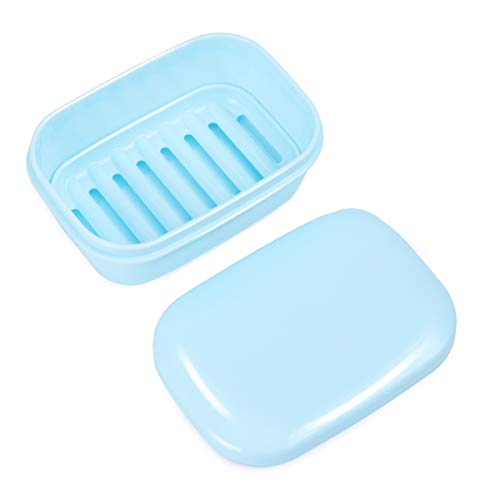OUNONA Seifendose Kunststoff Seifenschale Soap Container für Home Reisen Outdoor Camping (Hellblau) - Kunststoff-seifenschale