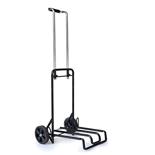 Barres de traction portables pliables Bagages Chariot de voiture Petite remorque Panier Achat Une traction de légumes Le camion ( Couleur : Noir )