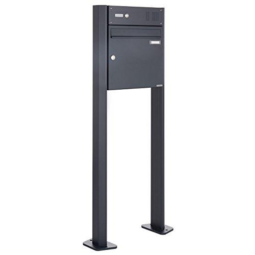 Standbriefkasten Design BASIC 380-P mit Klingel- Sprechteil - Anthrazitgrau 7016 (1 Parteien)