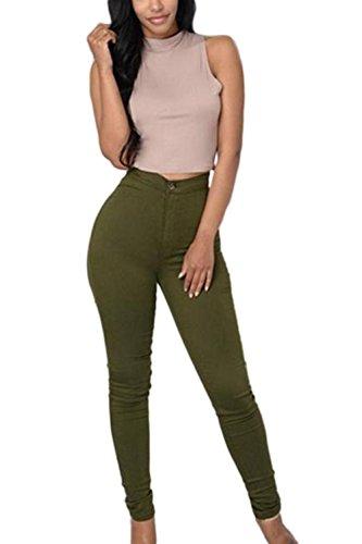 Le Donne E La Vita Alta Matita Pantaloni Slim Fit Caviglia Leggings Armygreen